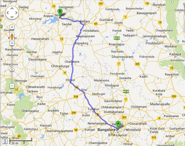 Bangalore to Hospet via Bellary